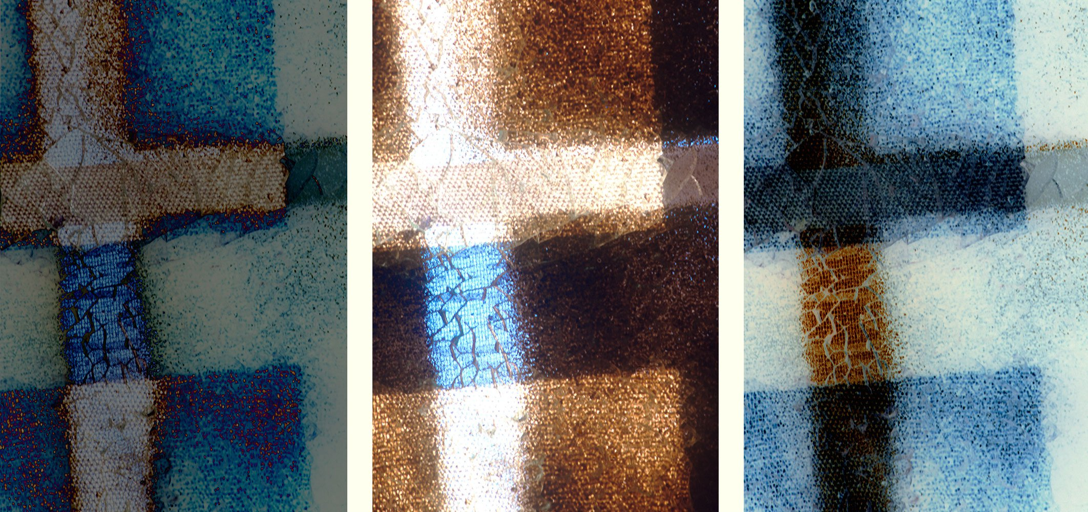 Old Santa Fe Prison:      crosses   rust   blue   neon   textile   Old- State-Penitentiary-New-Mexico   abstract